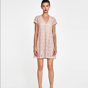 NWOT Zara Woman Size Medium Lace Dress Blush